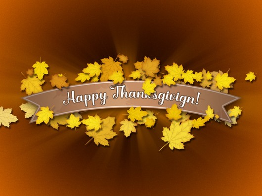 Autumn Background with a Ribbon