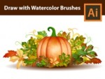 How to draw a Pumpkin with Watercolor Brushes - Adobe Illustrator Tutorial