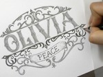 How to Draw a Vintage Logo with Pencil - Olivia