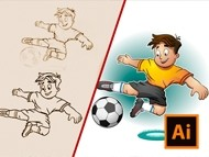 How to Draw a Cartoon Football Player - Creation Process Sketch to Vector in Adobe Illustrator