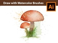 How to draw a Mushroom with Vector Watercolor Brushes - Adobe Illustrator Tutorial