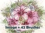 Lilies Bouquet Brushes