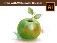 How to draw an Apple with Vector Watercolor Brushes in Adobe Illustrator