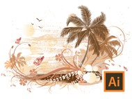Illustrator - Tropical Background with Palms, Floral, Swirl, Bird, Butterfly - Tutorial